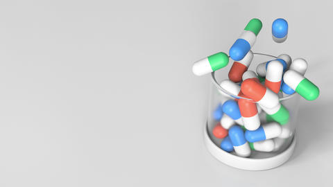 Pouring antibiotic drug capsules into a jar. Conceptual 3D animation Footage