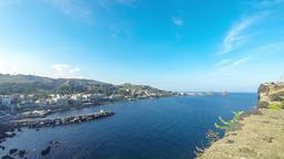 Rocky mediterranean coastline, Aci Castello, Sicily, Italy Footage