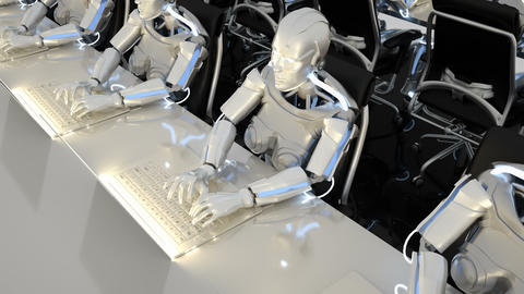 Robots of the future work in offices on computers. Loopable CG動画素材