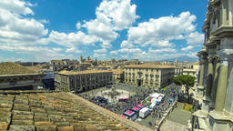 Aerial skyline view of Catania old town, Sicily, Italy GIF