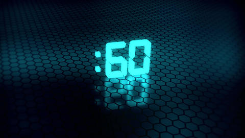 3D Ice Blue 60 Seconds Countdown with Hexagonal Floor Background Animation