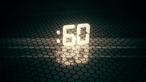 3D White 60 Seconds Countdown with Hexagonal Floor Background V2 Animation