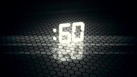 3D White 60 Seconds Countdown with Hexagonal Floor Background Animation