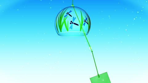 Japanese Traditional Summer With Wind Chime, Blue Background, Loop Animation Animation