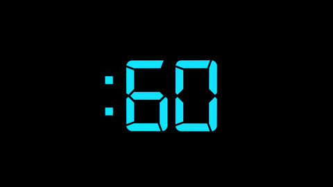 2D Blue 60 Seconds Digital Countdown Motion Graphic Element Animation