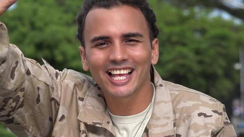 C0367 friendly hispanic male soldier waving Live Action