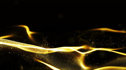 Abstract sparkling gold color particles wave form cyber technology background Animation