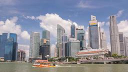Singapore business district city skyline waterfront timelapse, Marina Bay, Footage