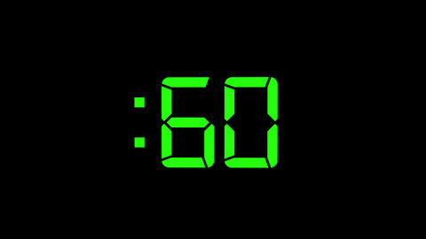 2D Green 60 Seconds Digital Countdown Motion Graphic Element Animation