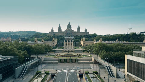 Palau Nacional National Palace museum in Barcelona Footage