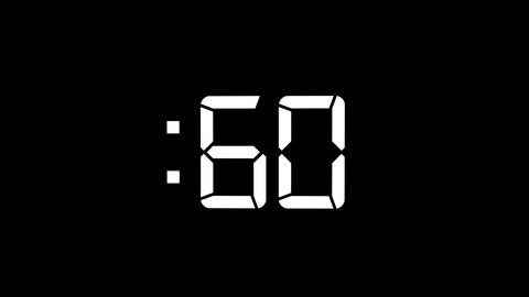 2D White 60 Seconds Digital Countdown Motion Graphic Element GIF