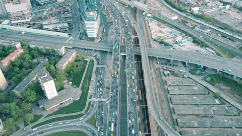 MOSCOW, RUSSIA - MAY, 22, 2017. Aerial time lapse tilt shot of heavy traffic jam Footage