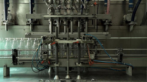 Automated line for the production of milk in plastic bottles. Milk bottles on a Live Action