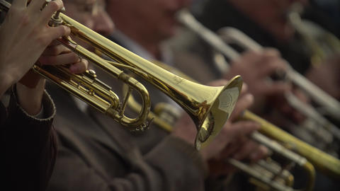 Close-up of wind instruments. Jazzman plays the trumpet. Brass tool Footage