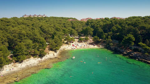 Small Croatian beach resort in Pula on the Adriatic sea Footage