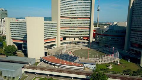 VIENNA, AUSTRIA - JULY 31, 2017. Aerial descending shot of United Nations UNO Footage