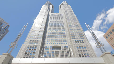 Tokyo Metropolitan Government Building and moving clouds against the blue sky Live Action