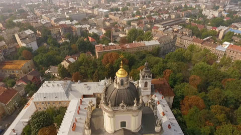 Flying over Cathedral of St. Jura Lviv Ukraine. Scenic view of the old city from Footage