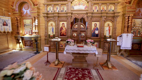 Interior of a Christian wooden church GIF