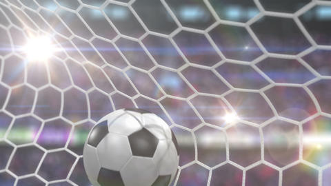 Soccer Ball Flies into the Goal with Camera Flashes Animation