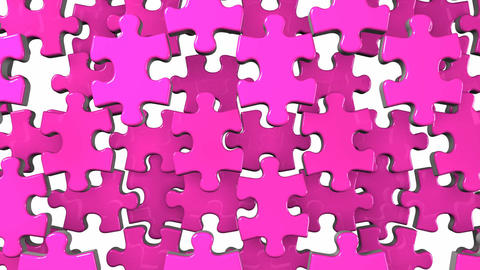 Pink Jigsaw Puzzle On White Background CG動画