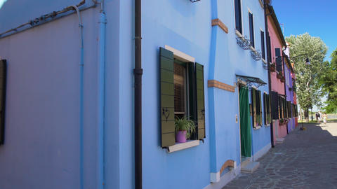 Panoramic view on beautiful colorful houses in Burano, tourism, Venice Footage