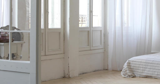Panorama of Interior of white cozy bedroom Stock Video Footage