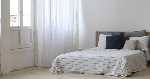 Panorama of Interior of white cozy bedroom Footage