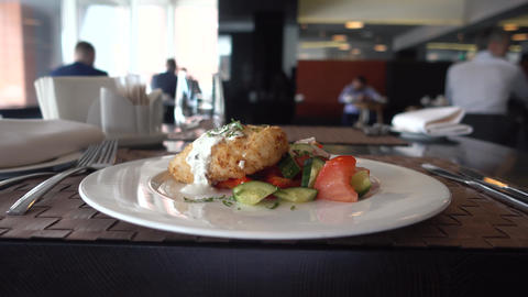 Business lunch food closeup restaurant business Stock Video Footage