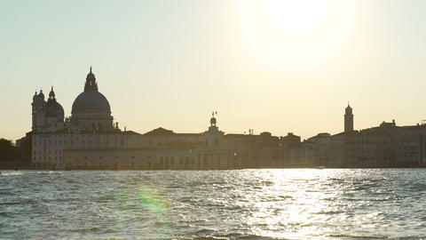 View on Santa Maria della Salute cathedral and Grand Canal at sunset, Venice Footage