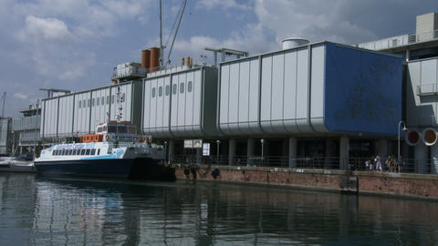 Outside view of the aquarium in Genoa, Italy Live Action