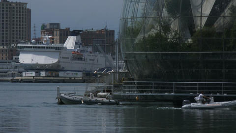 The sphere of Renzo Piano in the old port of Genoa, Italy Live Action