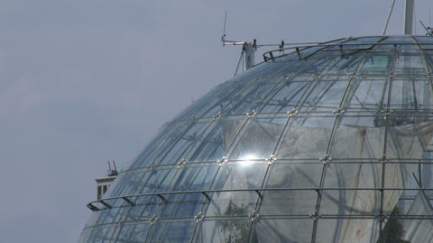 Detail of the sphere of Renzo Piano in the old port of Genoa, Italy Live Action