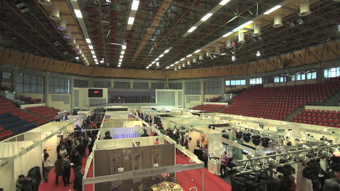 Product borough held in a multipurpose hall where traders have arranged many sta Footage