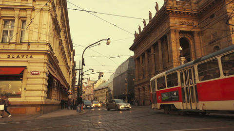 Traffic Flowing in Ultra Slow Motion Past the National Theater in Prague Footage