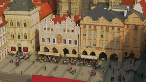 Aerial Shot of Prague Old Town Square on a Sunny Day Footage