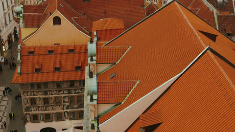 Ultra Close-up Shot of Prague Skyline from Old Town Square to Petrin Park Footage