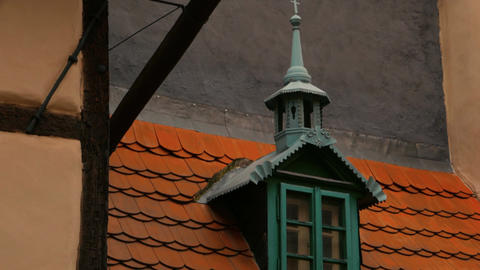 Close-up of Architectural Detail in the Golden Lane Prague Footage