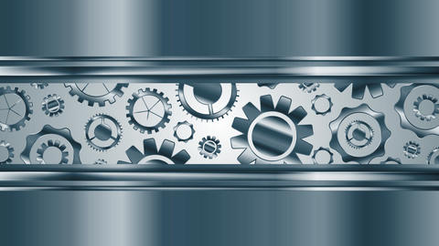 Abstract tech metallic video animation with gears mechanism Animation
