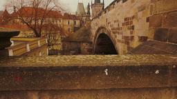 Tilting Shot of the Charles Bridge in Prague Footage