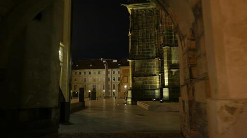Walking Through Prague Castle and St Vitus Cathedral-POV Night Shot Footage
