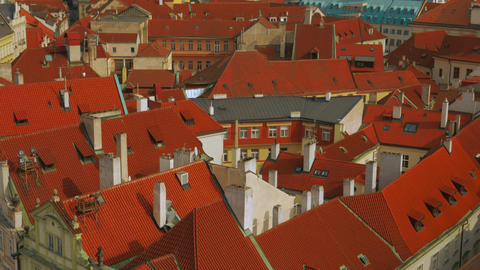 Close-up Tilting Aerial Shot of Prague Old Town Square on a Sunny Day Footage