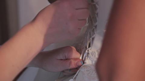 Dressing The Happy Joy Caucasian Bride Footage