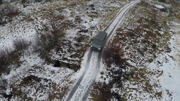 Car In The Frozen Snowy Countryside Footage