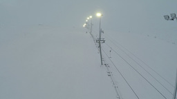 Aerial shot of ski lift and lampposts Footage