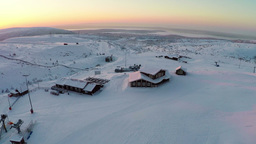 Sunrise Landscape And Ski Resort Footage