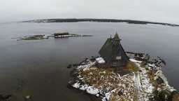 Aerial view of old house on winter coast Footage