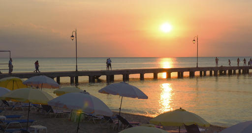 Pier on a Beach Resort at Sunset Footage