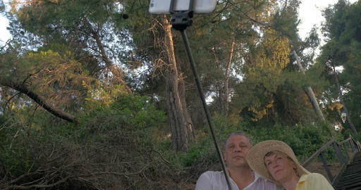 Mature Couple Taking Selfie with Monopod Stick Footage