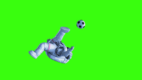 Astronaut Shoots on Goal on a Green Background and in Outer Space Animation